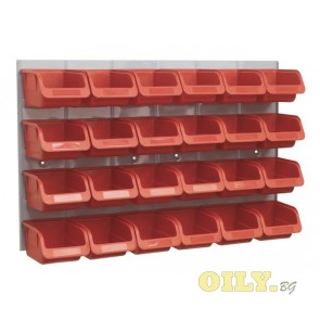 Sealey - табло с контейнери за съхранение 24бр.
