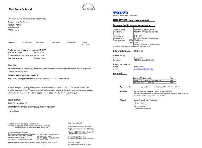Сертификат за моторни масла Addinol от MAN и Volvo