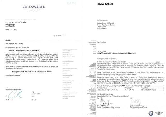 Одобрени масла на Addinol за автомобилите на Фолксваген и Ауди